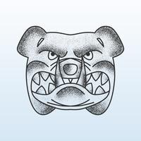 Bulldogge Gesicht Punktierung Schattierung