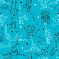 Nahtloses Muster mit Spaß Gekritzelkatzen. Auf einem türkisfarbenen Hintergrund. Vektor