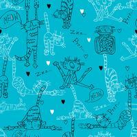 Seamless mönster med roliga Doodle katter. På en turkos bakgrund. Vektor