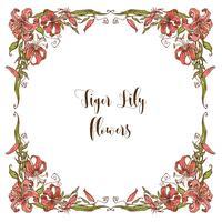 Quadratische Weihnachtskarte mit Tiger Lily Blumen. Vektor.