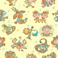 Nahtloses Muster mit Sternzeichen für Kinder. Vektor. Tierkreiskreise.