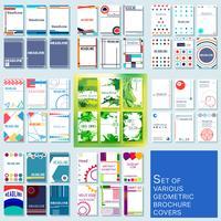 Set med trendiga olika geometriska design täcker broschyr eller flygblad mall