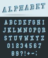 Isometrisk alfabetet teckensnitt med 3d effekt bokstäver och siffror