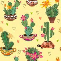Handritat dekorativt sömlöst mönster med kaktus och succulenter.