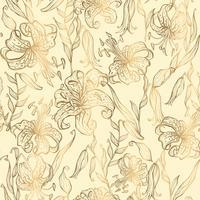 Nahtloses Muster. Goldlilien auf einem Vanillehintergrund. Vektor