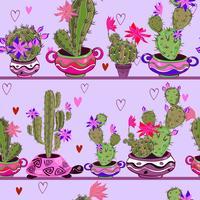 Blommande kaktusar i roliga krukor. Sömlöst mönster. Vektor.