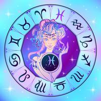 Sternzeichen Fische ein schönes Mädchen. Horoskop. Astrologie. Vektor.