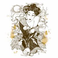 Japansk tjej med en blomma. Grafik. Måne. Vektor