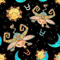 Ein Spaß nahtlose Muster für Kinder. Sternzeichen Stier. Vektor. vektor