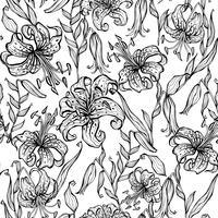 Svartvitt sömlöst mönster med liljor. Färg. Vektor