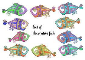 Dekorativa tropiska fiskar. Sats av fisk. Vektor.