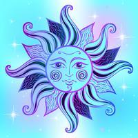 Sol. Vintagestil. Astrologi. Etnisk. Hednisk. Boho Style. Vektor