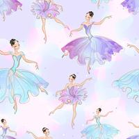 Wunderbare Ballerina Mädchen. Nahtloses Muster. Vektor.