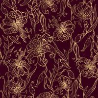 Goldlilien auf einem Burgunder-Hintergrund. Nahtloses Muster. Vektor