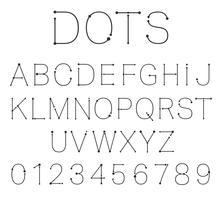 Punkte Buchstaben und Zahlen.