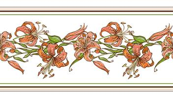 Tiger lilja. Samlat mönster. Flower border. Vektor illustration.