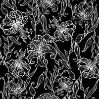 Sömlöst mönster med liljor. Svartvit. Grafik. Vektor