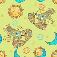 Ett roligt sömlöst mönster för barn. Zodiac Sign Cancer. Vektor