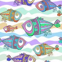 Dekorativa tropiska fiskar. Sömlöst mönster. Undervattens värld. Vektor.