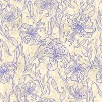 Nahtloses Muster mit Tigerlilien. Vektor-illustration