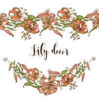 Sömlös mönstergräns med liljor. Vektor illustration.