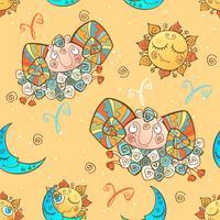 Ett roligt sömlöst mönster för barn. Zodiac Sign Aries. Vektor.