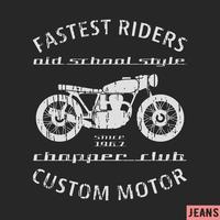 Motorcykel vintage frimärke vektor