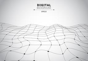 Abstrakt digital teknik svart wireframe polygonal landskap vit bakgrund. Anslutna linjer och prickar futuristiska.