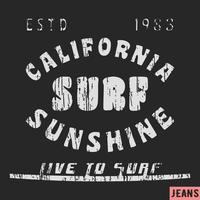 Kalifornien surfa vintage frimärke vektor