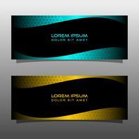 Sammanfattning svart banner teknik koncept design. Glänsande guld och blå färg vektor
