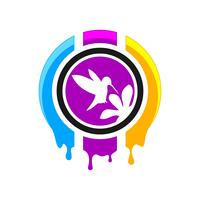 Digitaldruck-Logo-Design vektor