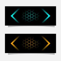 Abstraktes schwarzes Fahnentechnologie-Konzeptdesign. Glänzende goldene und blaue Farbe