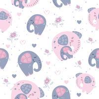 Elefant med en elefant i en söt stil. Söt dröm. Inskrift. Vektor.