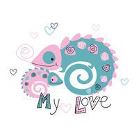 Kameleonter. Mamma och älskling Moderskap. Tropisk. Min kärlek. Text. Vektor