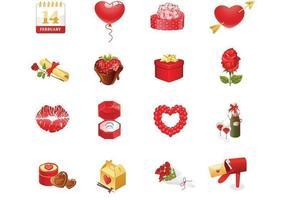 Alla hjärtans dag vektor ikoner pack
