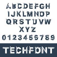 Unvollständige Glitch-Schriftart vektor
