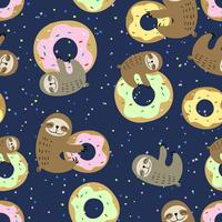 Nahtloses Muster. Süße Faultier mit süßen Donuts. Naschkatze. Vektor