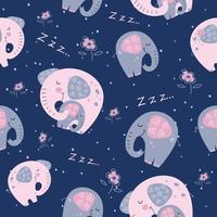 Elefant mit einem Babyelefanten in einer niedlichen Art. Süße Träume. Inschrift. Vektor.