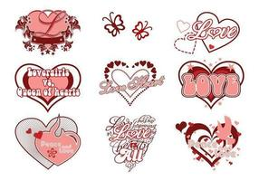 Kärlek och hjärta vektorpaket vektor