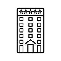 Fünf-Sterne-Building Line schwarze Ikone