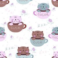 Nahtloses Muster. Süße Kätzchen schlafen süß in Bechern. Pyjamadruck für Kinder. Vektor.