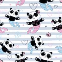 Sömlöst mönster. Mermaid Panda på randig bakgrund. Vektor