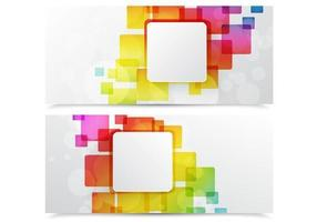Färgglada abstrakta fyrkantiga banner vektorpaket vektor