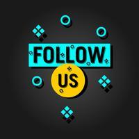 Följ oss text modern design mall. Blå och gula färger. Svart bakgrund vektor