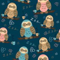 Sömlöst mönster. Ugglor dröm. Gullig stil. Pajama tyg. Vektor