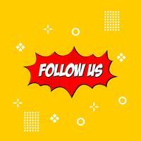 Folgen Sie uns Textvorlage für modernes Design. Rote und gelbe Farben. weißer Hintergrund