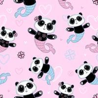 Sömlöst mönster. Gullig panda sjöjungfrun på rosa bakgrund. Vektor