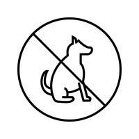 Schön kein Haustier Zeichen Linie schwarze Ikone vektor