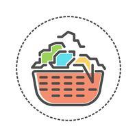 Tvättsymboler i platt färgstil. Vektor illustration