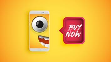 Hög detaljerad gul uttryckssymbol på en smartphone med en röd talbubbla, vektor illustration
